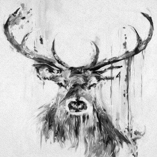 PRINT ONLY GRAFFITI ART STAG DEER MOOSE PAINTING GREY BLACK WHITE