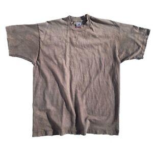 Vtg-90s-Thrashed-Distressed-Faded-Blank-Single-Stitch-FOTL-T-Shirt-XL-USA-Made