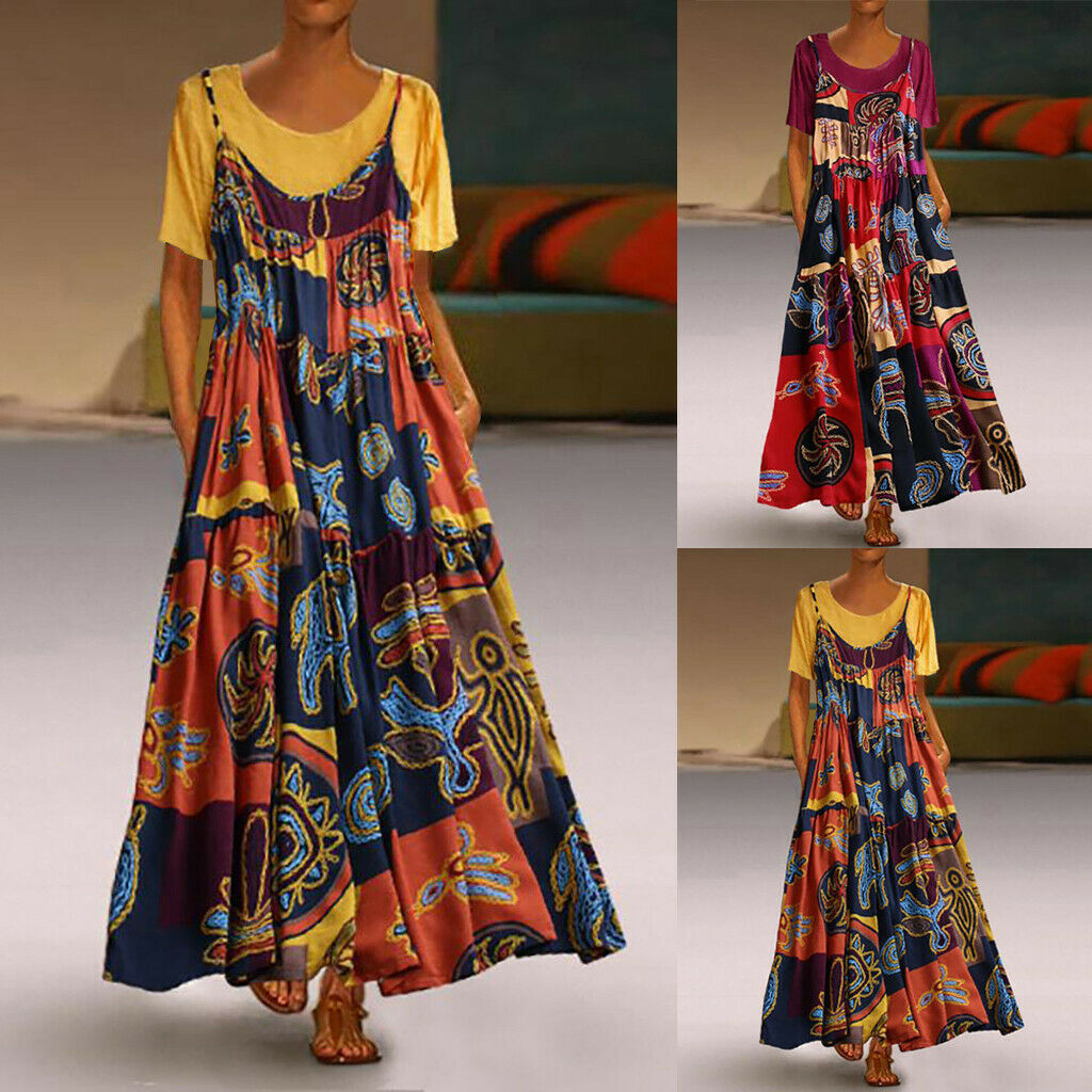 Women Vintage Print Maxi Dress Patchwork O-Neck Short Sleeve Summer Plus Size