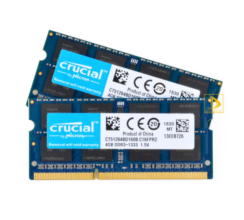 Crucial 2x 4GB 2RX8 PC3-10600S DDR3 1333Mhz Laptop Memory RAM SODIMM 204Pin 8GB