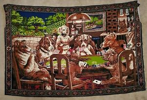 """Dogs Playing Poker Fabric Wall Art Tapestry Picture Bar Decor Waitress 52"""" X 34"""""""