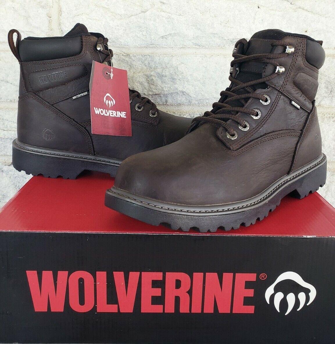 "Wolverine Mens Floorhand 6"" Waterproof Soft Toe Work Boots Sz 10 EW Brown W10643"
