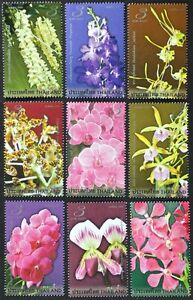 N075A-THAILAND-2008-Wonderful-set-of-9-Orchids-Flowers-Mint-NH