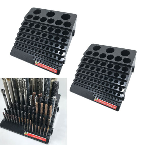 2 Pcs Drill Drill Bit Storage Case Holder Milling Cutter Storage Box,Black