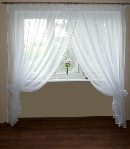 Ag10 Fini Rideau de voile SET Belle rideau moderne Blanc 250 x 300 cm fenêtre