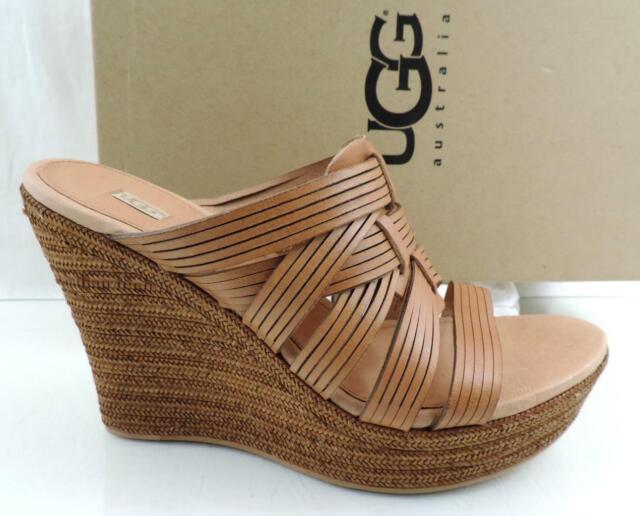 d54566879b5 Women's UGG Australia Melinda Platform Wedge Sandal Heel Leather Suntan  Size 8.5
