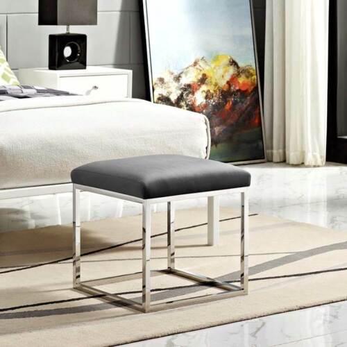 Modern Sleek Design Ottoman w// Silver Stainless Steel Finish /& Gray Fabric Seat