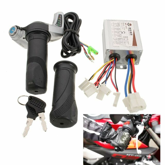 24v 500w DC Motor Brush Speed Controller & Electric Bike Throttle Twist  Grips