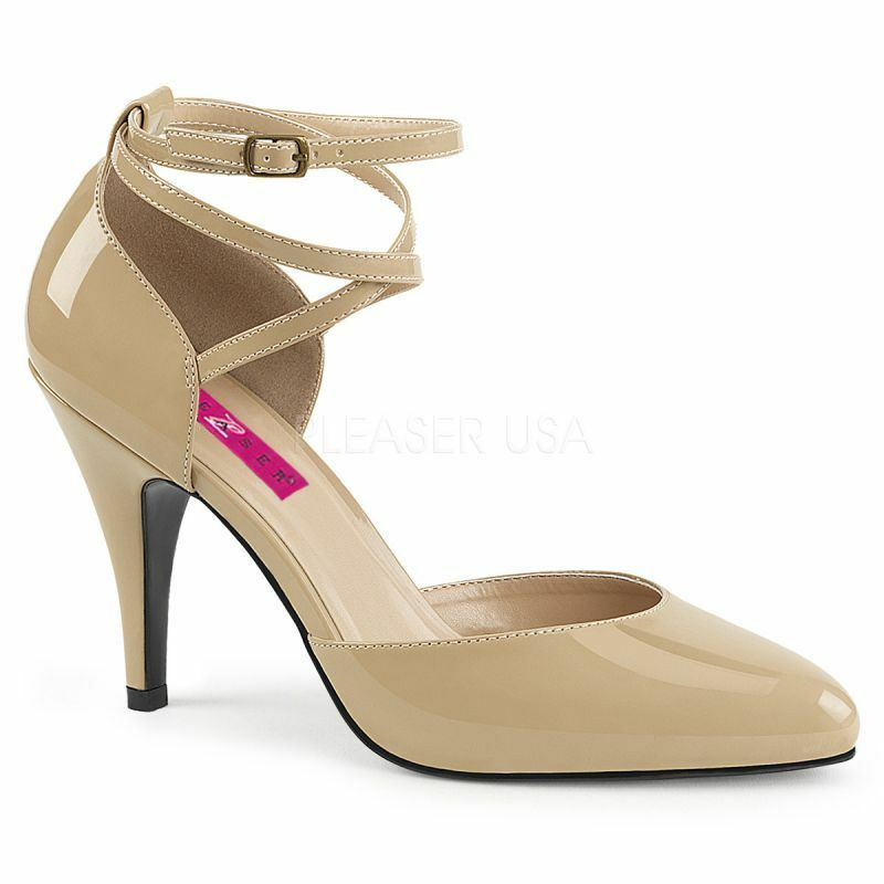 PLEASER DREAM-408 Pump Beige Lack Ankle-Strap Hot Abendschuh Business B¸ro Gogo Hot Ankle-Strap 9c1f7f