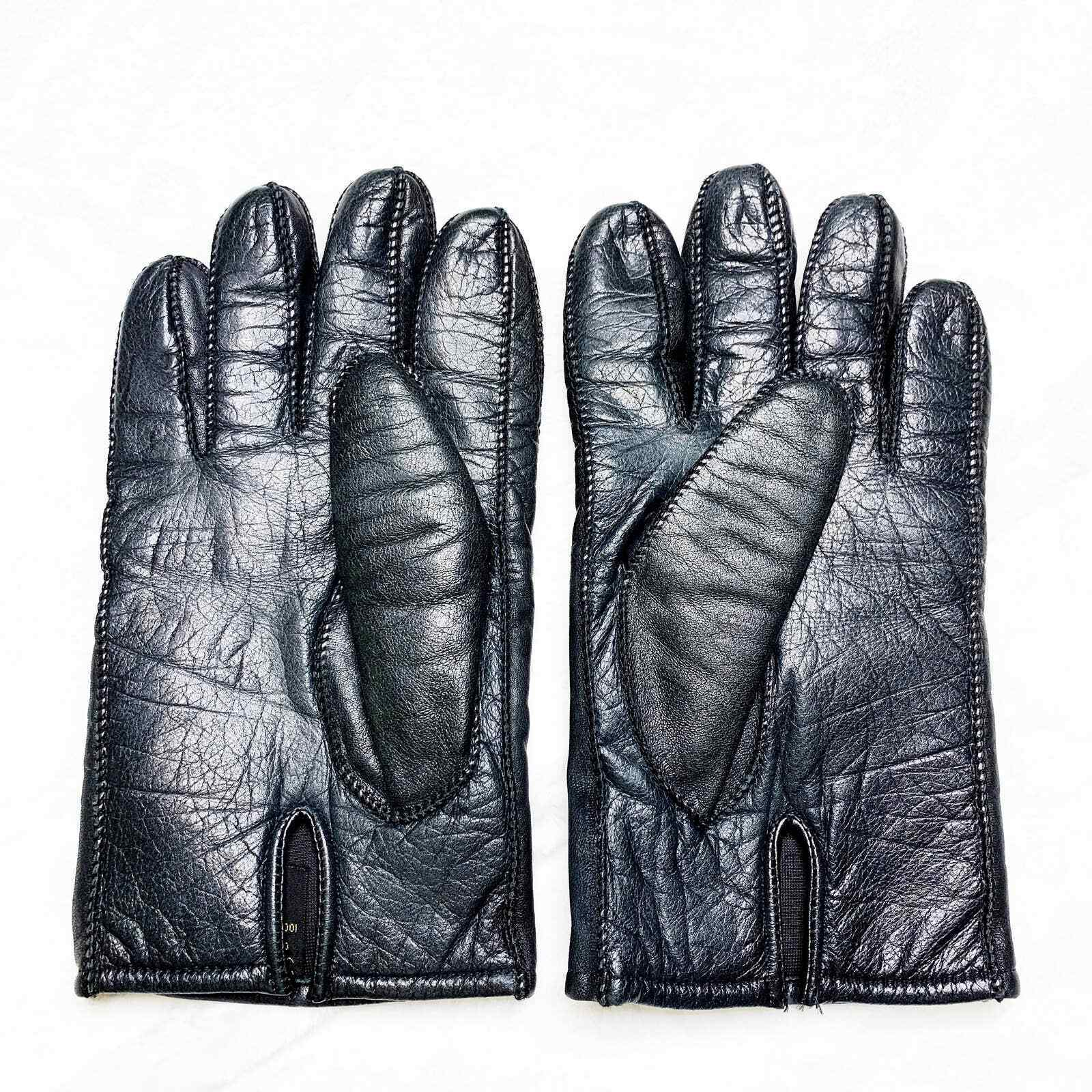 Vintage Men's Italian Styled 100% Cowhide Black Leather Insulated Gloves