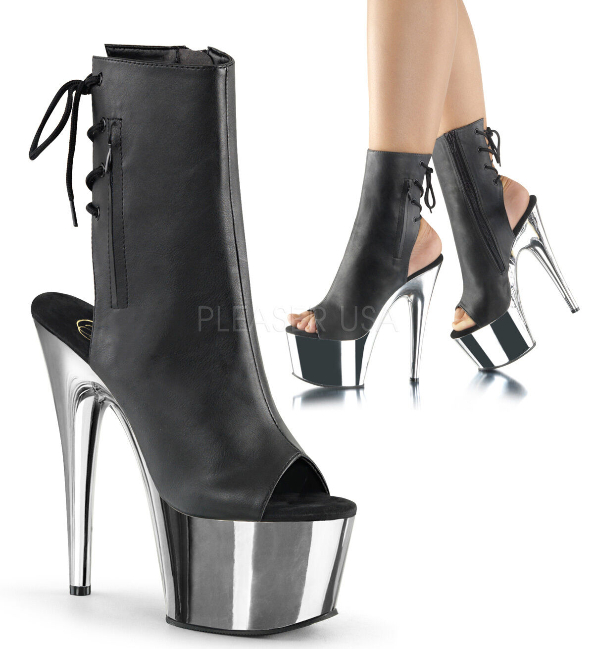 PLEASER - Adore-1018 With Peep-Toe Platform Ankle Stiefel With Adore-1018 Side Zips & Back Laces a9f013