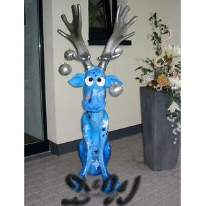 elch rentier rudi kunstbemalung sterne geschenk weihnachten deko garten figur ebay. Black Bedroom Furniture Sets. Home Design Ideas