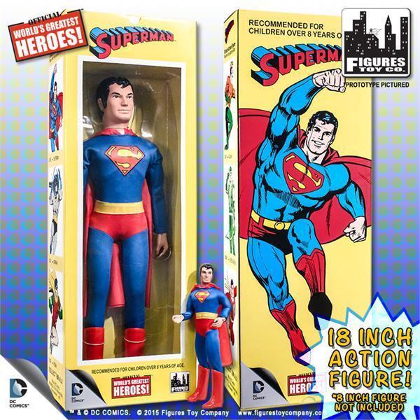 Dc comics, superman, retro - mego 18 - zoll - action - figur, die misb zahlen.