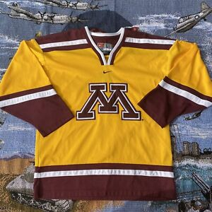 Men-s-Large-Yellow-Nike-Minnesota-Golden-Gophers-College-Hockey-Jersey