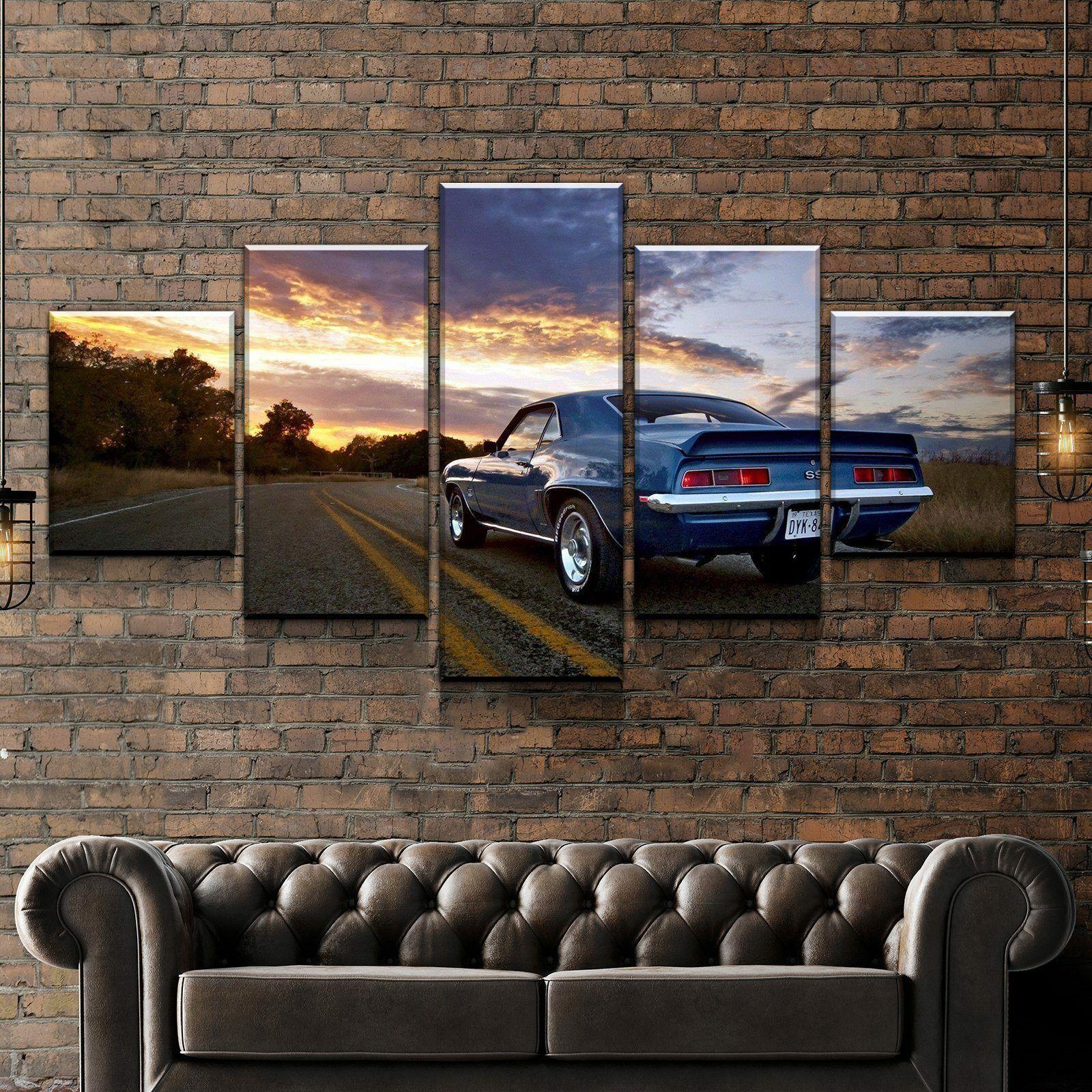 Camaro SS Sunset Car 5 Pieces Canvas Wand Kunst Poster Drucken Home Deco