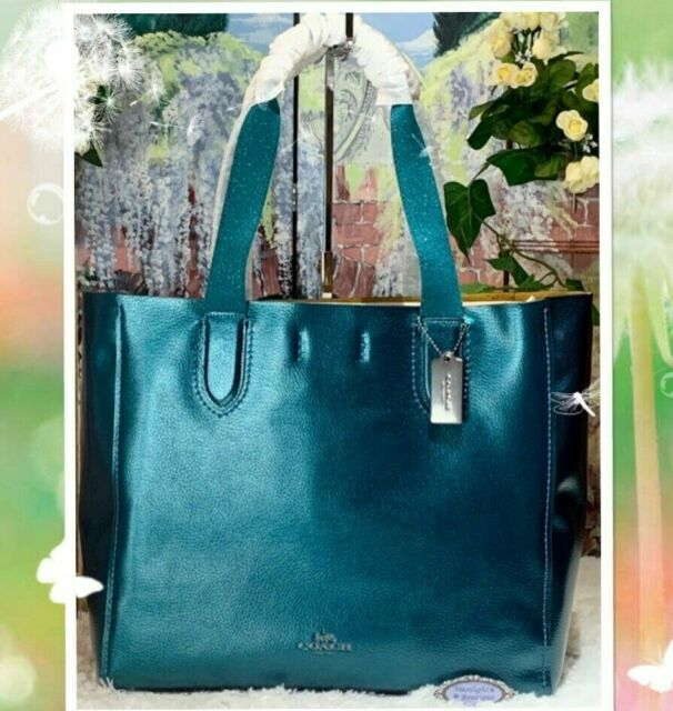 7879e85723 NWT COACH F59388 DERBY LARGE Tote Shoulder Bag In Metallic DARK TEAL Leather
