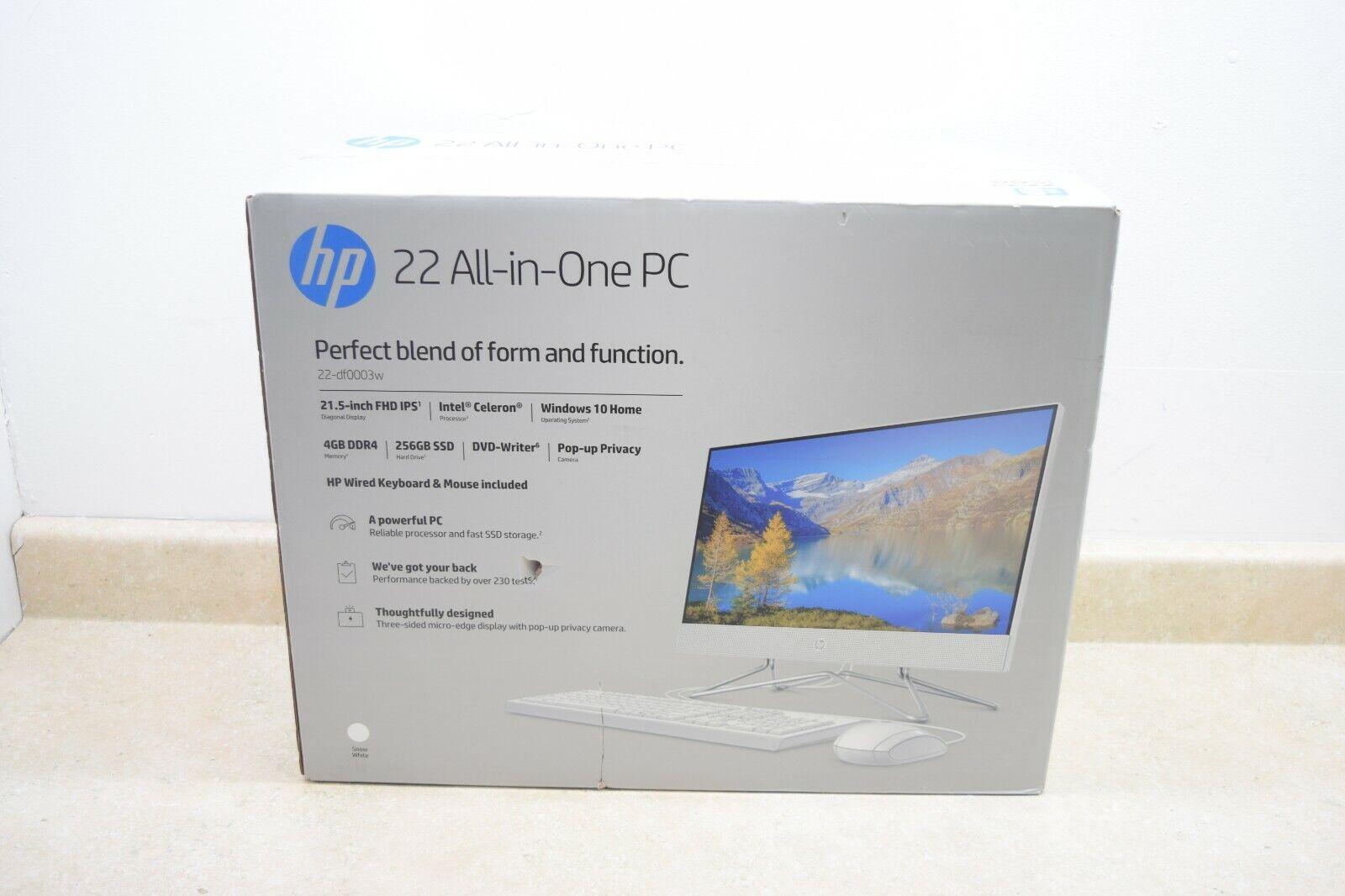 Renewed HP 22-DF 21.5-Inch Full HD WLED Intel Celeron G5900T 4GB 256GB SSD Win 10 All-in-One PC