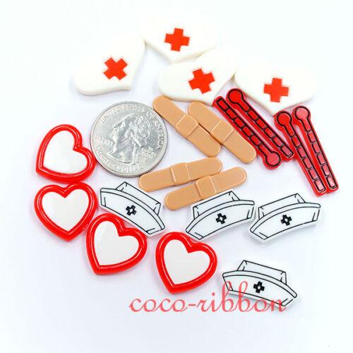 10pcs Nurse Kit Set Medical Care DIY Set Flatback Resin Cabochons 20~28mm C06