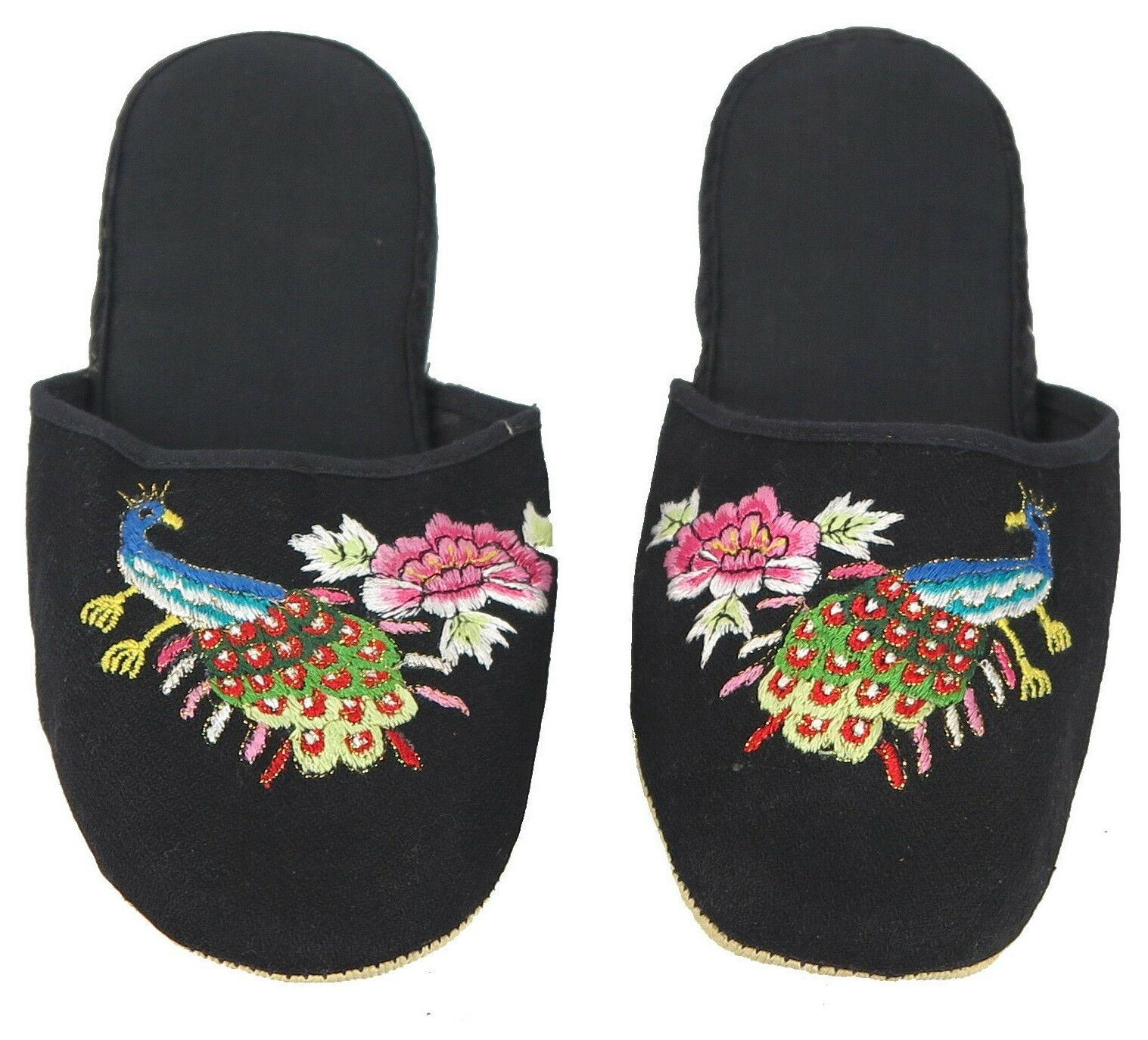 Handmade Embroidered Peacock Chinese Womens Cotton Slippers Blue Red Black Turquoise New