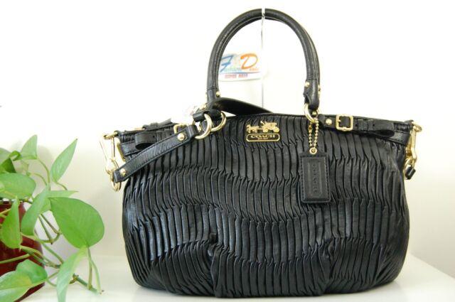 1124872c Coach 18620 Madison Gathered Leather Sophia Satchel Black Handbag S15