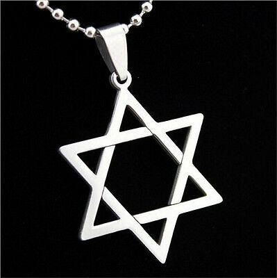 1Pc Silver Stainless Steel David Hexagram Men's Pendant Necklace Free Ball Chain