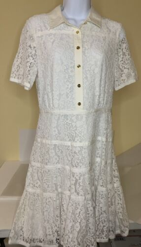 Draper James White Meadow Lace Shirt Dress Sz 6
