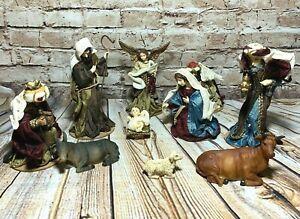 Vintage-Fabric-Nativity-Set-Mary-Joseph-Jesus-Angel-Wise-Men-Barn-Animals-11-Pc