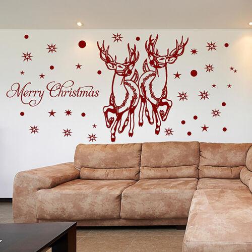 SANTA REINDEER Wall Stickers CHRISTMAS WINDOW STICKERS Christmas Decorations N89