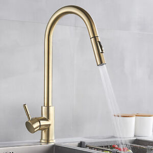 Details About Brushed Gold Kitchen Faucet Pull Out Sprayer Swivel Spout Deck Mounted Swivel