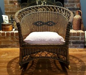 Vintage Super Rare Rocker Mid Century Ficks Reed Company Wicker