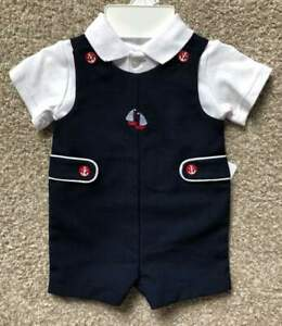 Starting-Out-Brand-Newborn-Baby-Boy-Navy-Blue-Nautical-Romper-Outfit-NWT