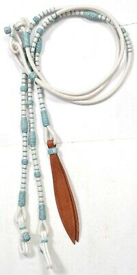 Black Synthetic Romal Reins Nylon with Turquoise Natural Rawhide Tack SNR789