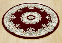 Indian Aubusson Red Wool Traditional Round Rugs Chinese Design 4' Diameter 120cm