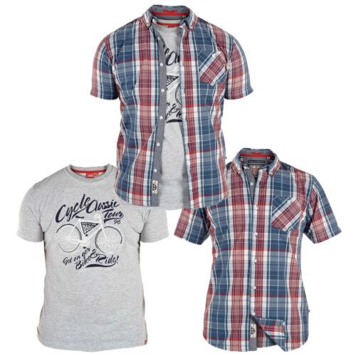 Da Uomo DUKE D555 BIG SIZE Check Camicia Manica Corta Grafica T-shirt 3XL 4XL 5XL