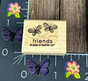 Stampin' Up! Friends Two Butterflies Rubber Stamp 2006 Wood Mount #C140