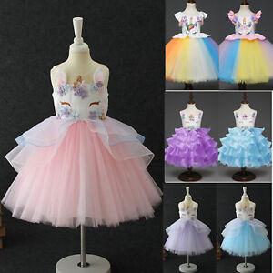 5022f4b88baf7 Details about Flowers Kids Girls Unicorn Pageant Party Formal Chiffon Tutu  Dress Clothes Lot