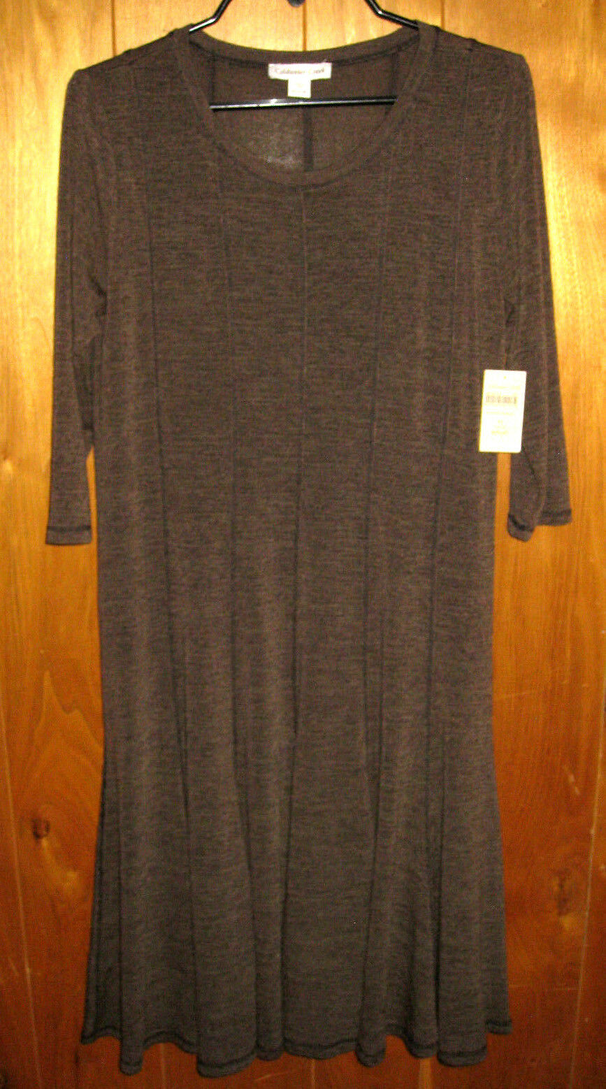 Coldwater Creek Seamed Tee Dress Brown Brown Brown Career Womens Size Petite Small PS (6-8) 448ae6