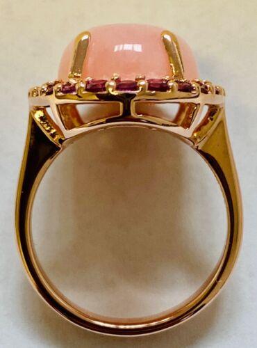 Meher/'s Jewelry Peru Pink Opal and Rhodolite Garnet Gemstone Rose Vermeil Ring