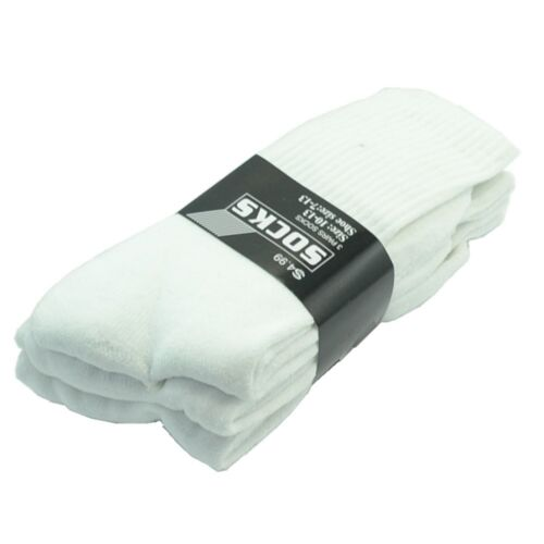 12 Pairs Mens White Sports Athletic Work Crew Cotton Long Socks Size 9-11 10-13
