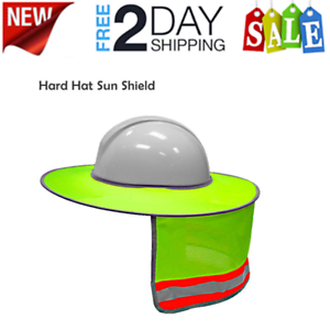 Full Brim Sun Shield Shade Head Neck Nape Breathable Mesh For Hard Hat Helmet !