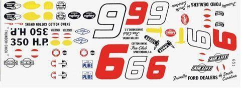 Fred Cady 651 #6 Cotton Owens Thunderbird 1959 Nascar decal