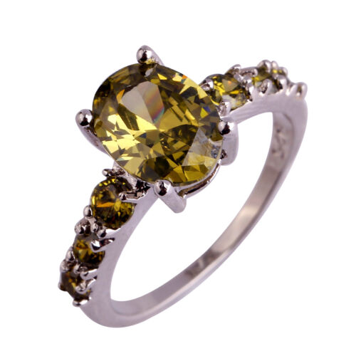 Delicate Oval Cut Peridot Gemstones Banquet Silver Jewelry Ring Xmas Gift Lover