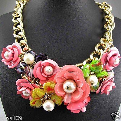 New Design Lady Bib Statement flower crystal multi chunky chain necklace
