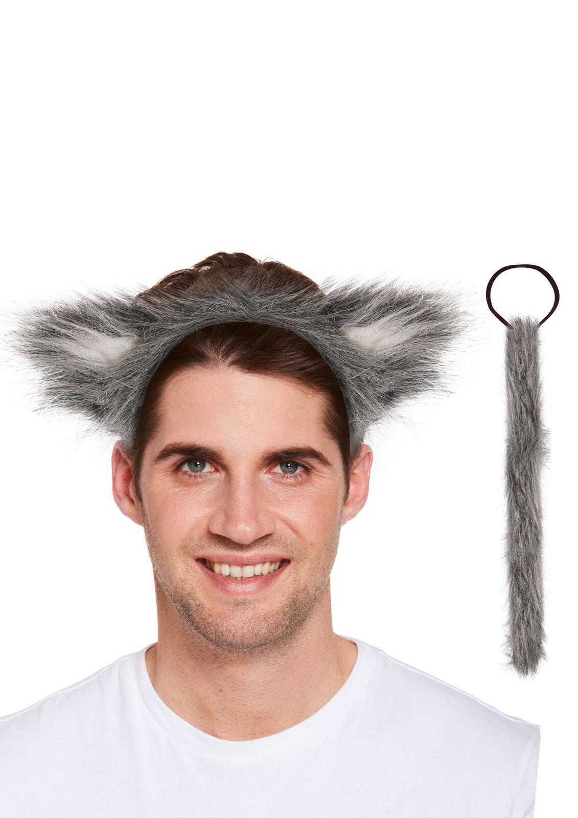 Halloween Wolf 2Pcs Set Ears and Tail Set Fancy Dress Headband Costume Accessory