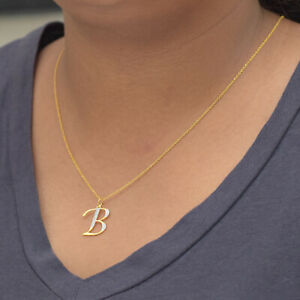 Diamond Pave Pendant 14K Yellow Gold B Initial Charm Necklace Fine Gift Jewelry