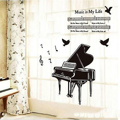 Fashion Music Symbol Piano Sheet Music Type Bedroom Study DIY Decor Wall Sticker