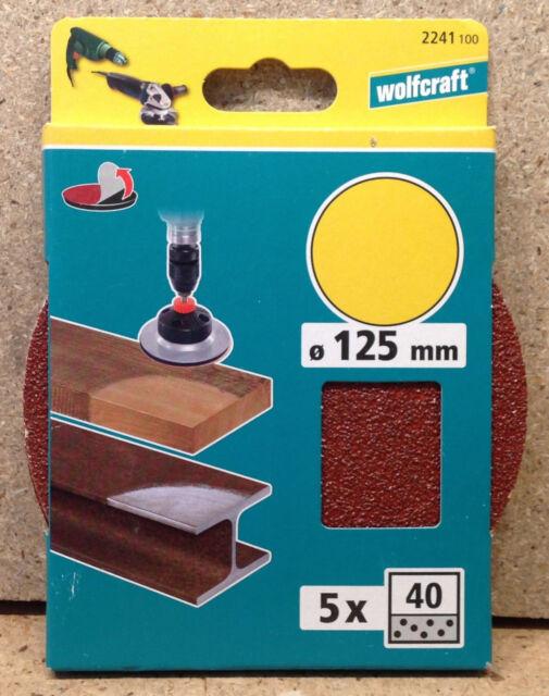 Wolfcraft 5 Haft - Schleifscheiben K 40  125mm 2241100