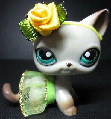 Littlest Pet Shop lps Short Hair Cat # 391 ORIGINAL Egyptian Gray Cat Green Eyes