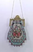 Antique 1920s Whiting & Davis Multi - Color Enamel Mesh Purse Bag Flower Clasp