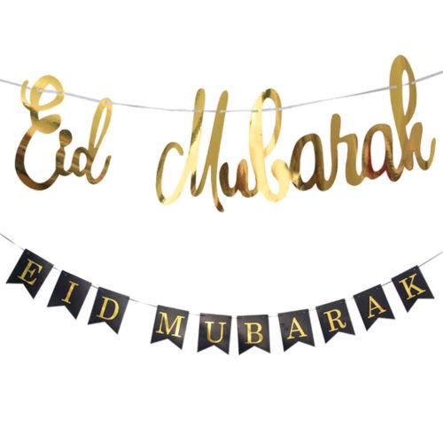 EID MUBARAK Paper Banner Ramadan Decoration Garland Muslim Festival Banner